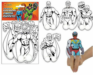 12 Super Hero Finger Puppets - Colour In - Craft Make Own Loot/Party Bag Fillers