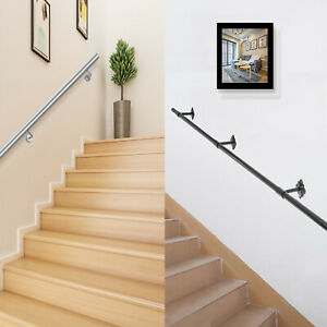 Stair Handrail Stair Rail 3-10ft Steel Pipe Handrails for Stairs 200lbs Capacity