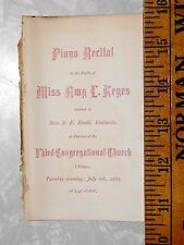 1886 Piano & Violin Recital Miss Amy L. Keyes, Chicopee, MA 3rd Congregation L15
