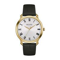 Bulova Classic Men's Quartz White Dial Black Leather Strap 41mm Watch 97A123