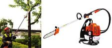 Backpack 52cc Long Reach Pole Chainsaw Petrol Chain Saw Brush Tree Cutter Pruner