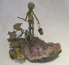 Vintage Malcolm Moran Bronze Sculpture - Boy With Dog