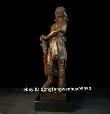 Copper Bronze Marble Base Western Art Sculpture Swordman Knight Warrior Figurine