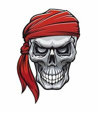Rebel Pirate Skull Red Bandane Cross Bones  Sticker Decal Graphic Vinyl Label