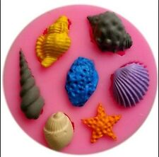 Seashell Assortment 7 Cavity Silicone Mold for Fondant Cake Decorating - NEW