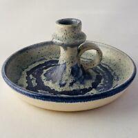 Studio Art Pottery Candleholder Wheel Thrown Vintage Blue Gray Signed J Wright