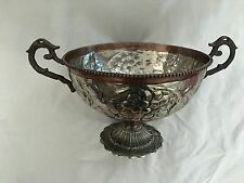 """Hammered Metal Copper 9X13"""" Fruit Bowl with Decorative Handles"""