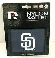 San Diego Padres Football Nylon Tri-fold Vinyl Wallet Navy Blue