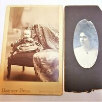 Antique Cabinet Card Photograph Baby Girl Donner Bros. Watertown Wis & Gertrude