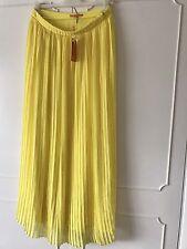 Hugo Boss Orange Women's Pleated Maxi Skirt Beflowy Yellow Stretch UK 8 £149
