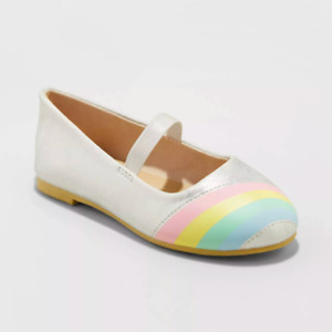 New Cat & Jack Kami Ballet Flats Silver Rainbow Toddler Girls Shoe Size 6