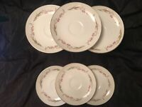 "Cherry Blossom China Set of 6 Saucers 6"" Prestige Japan MS White Pink Grey"