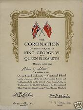 1937 Owen Sound Collegiate Ontario Canada King George VI Coronation Program