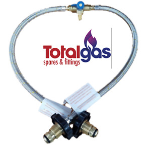 CARAVAN BRAIDED GAS PIGTAIL KIT CHANGEOVER TWIN CYL POL - 1/4 INV FLARE 450mm