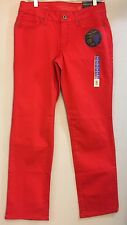 Womens Faded Glory Red Denim Tummy Control Mid Rise Straight Leg Jeans 10p