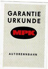 """DDR-certificato di garanzia AUTO PISTA """"Mpk"""""""
