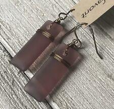 Min Favorit Smoked Amethyst Sea Glass Rectangle & Vintaj Brass Wrap Earrings