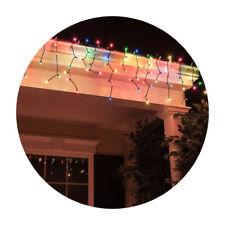 4M Colour Decorative XMAS/Christmas Solar Curtain Static/Flashing 100 LED Lights