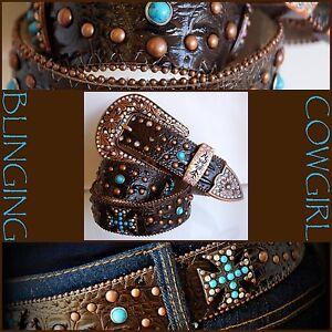 Ladies Plus Size Western Leather Belt Turquoise Cross Concho Bronze Buckle XXXL