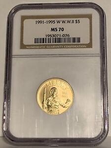 1991-1995 W. WW II $5 Gold NGC MS 70. World War II