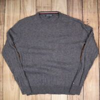 Mens Vintage Tommy Hilfiger Grey Knitted Wool Sweater Size XL