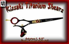"Kissaki Left Hand Hair Scissors 6.0"" Gokatana L Black Red DOUBLE SWIVEL Shears"