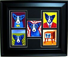 "GEORGE RODRIGUE BLUE DOG NOTE CARD COLLAGE - FRAMED - BLACK MAT - 17.5"" x 14.5"""
