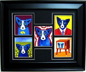 "GEORGE RODRIGUE BLUE DOG NOTE CARD COLLAGE - FRAMED - BLACK MAT - 17.5"" x 14.5"""