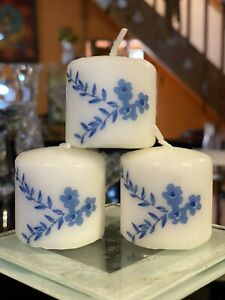 BLUE FLOWERS DESIGN Hand Decorated Votive Candles Set Of 3