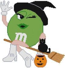 CROSS STITCH+ CRAFT PATTERN Green Candy Witch Broom Cat Pumpkin Halloween Boots