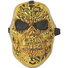 Halloween Mask Ghost Rider Gold Skull Mask Theater Theatre Costume Adult Size