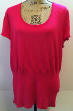 New York Clothing Company Sweater Top Blouse Short Sleeve Fuchsia Pink Womens XL