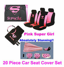 20 Pc Supergirl Girly Rosa cubierta de asiento Mat Set Rueda Guante almohadillas + Tuning Kit