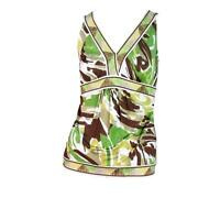 NWT BCBG MaxAzria Women Green Brown White Abstract V Neck Sleeveless Top Small S