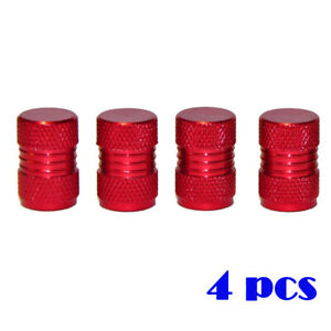 4pcs Car Wheel Tyre Valve Stems Red Air Dust Cover Screw Cap Accessories Kit