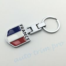 Universal Key Chain Ring Fob Holder France Flag Emblem Badge Car Accessory Trim