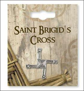 Saint Brigid's of Kildare Cross Silver Pin Brooch St.Brigid Prayer On Reverse