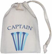 CAPTAIN - TINY NATURAL COTTON DRAWSTRING BAG - Golf Tee Storage - BLUE
