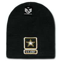 Black United States US Army Star Military Embroidered Beanie Skull Knit Cap Hat