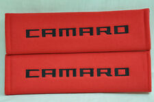 Embroidery Chevrolet Camaro Black Logo Red Plush Soft Seat Belt Cover Pad Pair