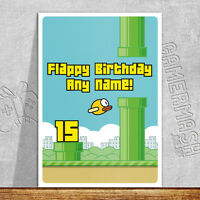 PERSONALISED BIRTHDAY CARD - Flappy Bird Themed