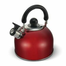 ELITRA Stainless Steel Whistling Kettle Tea Pot with Handle - 2.6 Qt/2.5L - Red