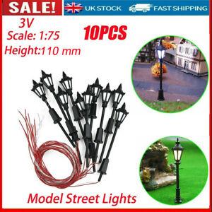 10X Model Street Lights Scale 1:75 Railway Train 3V LED Lamp Post Patio Lamps UK