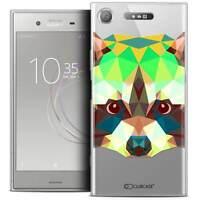 "Coque Crystal Gel Pour Sony Xperia XZ1 (5.2"") Extra Fine Souple Polygon Animals"