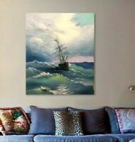 sailing ship wave landscape wall art canvas ocean beach nautical seascape blue