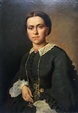 Tableau ancien signé P. De Coninck, Huile sur toile, Portrait de femme, XIXe