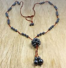 * Freedom Tree *Hematite Pretty Berry Pendant Long Necklace On cord Healing