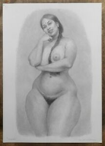 """""""INDRA"""": erotic pencil drawing by artist PHIL HENDERSON, signed"""