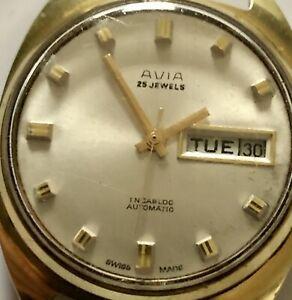 Vintage Working AVIA 25j Automatic Swiss Watch Cal 908 Solvil Titus Wristwatch