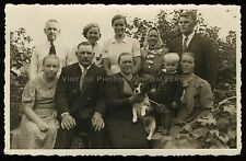 Antique Real Photo Postcard Rppc European Family Group With Beagle Dog